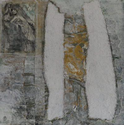 """""""Der Tod und die Muse"""" Acrylcollage (40x40cm)"""