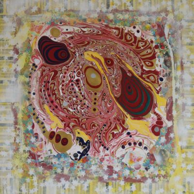 """Erdbeerland"" Acrylcollage (80x80cm)"